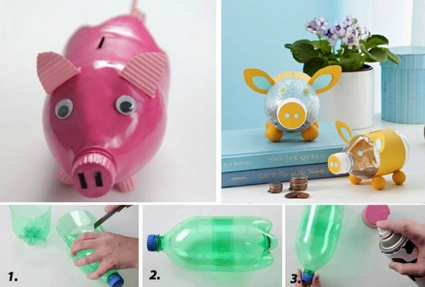 Diy piggy bank made from a plastic bottle for How to make a piggy bank you can t open